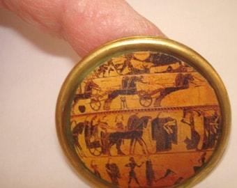 Greek Mythology Men Horses Chariots Vintage Jewelry Brooch KL Design
