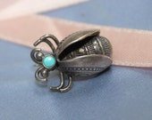 Native American Bug Brooch Turquoise Sterling Silver VINTAGE by Plantdreaming