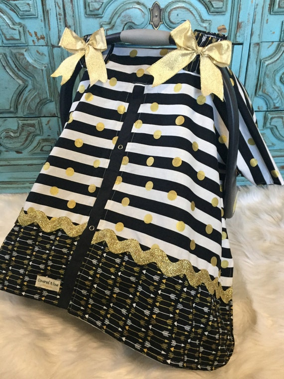 Car seat canopy Black and Gold / carseat canopy / car seat canopy /carseat cover /car seat cover / nursing cover