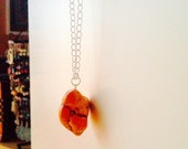 ONE DOLLAR SALE - Necklace - Bright Orange Turquoise on Silvertone Chain - Long