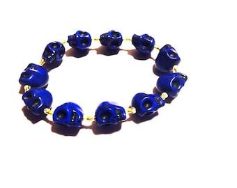 Bracelet - Cobalt Blue Skulls - Elastic