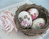 Eggs, Set of Two, Vintage Porcelain Eggs, The Egg Lady, Roses, Two Collectable Eggs, Shabby Roses, by mailordervintage on etsy