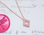 Floating Pave' Arabesque Solitaire Pendant Necklace w/CZs - Sterling Silver, Yellow, or Rose Gold Filled - Nickel Free