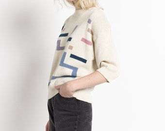 Vintage 80s Ivory Short Sleeve Sweater with Abstract Shapes Pattern   M/L