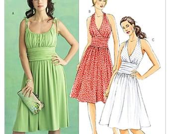 2007 Dress Pattern Haltervir Tie Shoulder Seam Flared Skirt Gathered Midriff Butterick B5029 Bust 38 to 44 UNCUT