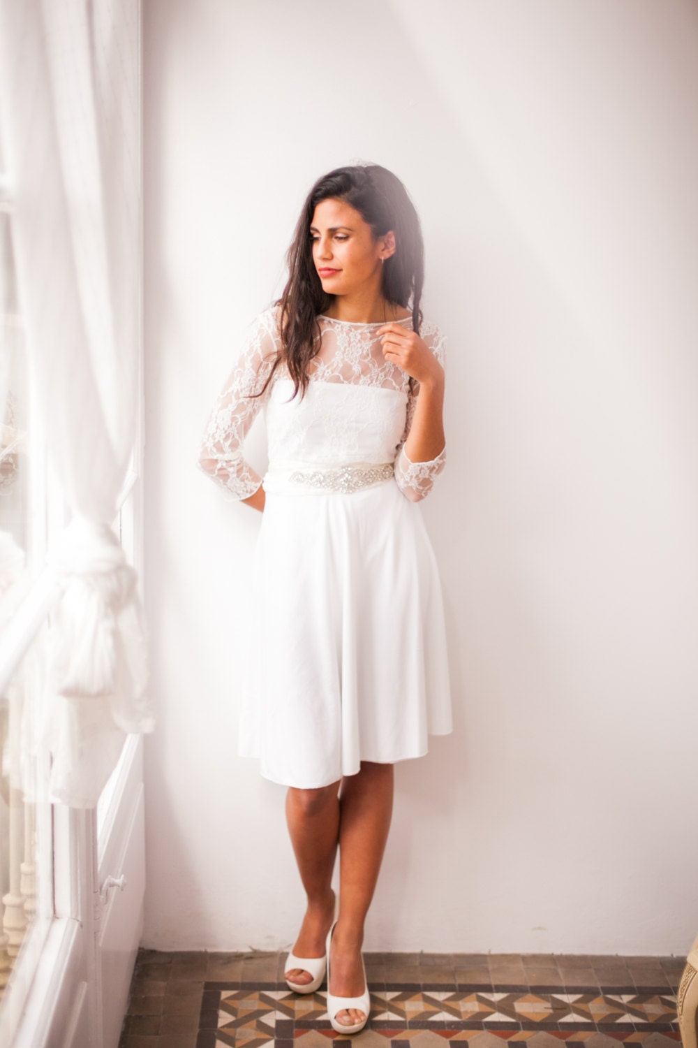 Short wedding dress with sleeves lace wedding reception for Short sleeved wedding dress