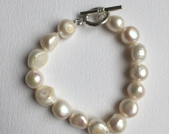 CLEARANCE SALE - Large uneven white fresh water pearl bracelet