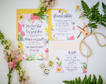 Happy Yellow and Pink Floral Suite - Painted Calligraphy - Hand Lettering - Watercolor Wedding Invitation Suite  - Color Customizable