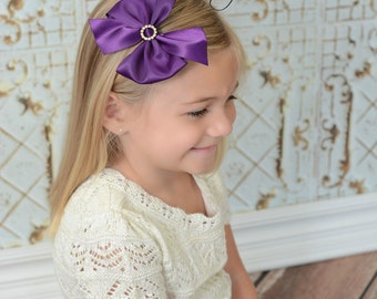 Plum Satin Hair Bow, Holiday Hair Bow, Girls Plum Hair Bow, Christmas Hair Bows, Plum Large Pinwheel Bow, Hair Bow, Purple Holiday Hair Bows