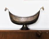 Vintage Brass Footed Bowl, Brass Viking Ship Bowl, Turkish Brass Bowl, Dragon Bowl, Brass Fruit Bowl, Turkish Bowl, Brass Bowl,