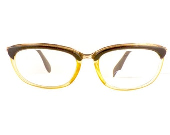 Metzler Brow Line Eyeglasses Women's Vintage 1950's Bronze Translucent Gold GF Frames Made in Germany Comes with Vintage Case #M295 DIVINE