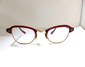 40s 50s Imperial Brand Eyeglasses Unisex Vintage 1940s 1950s Club Master Style Brow Line Horn Rimmed Amber Frames Gold Filled