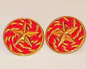 Vintage Red Rope and Gold Tone Nautical Patriotic Star Pierced Post Earrings (E-1-6)