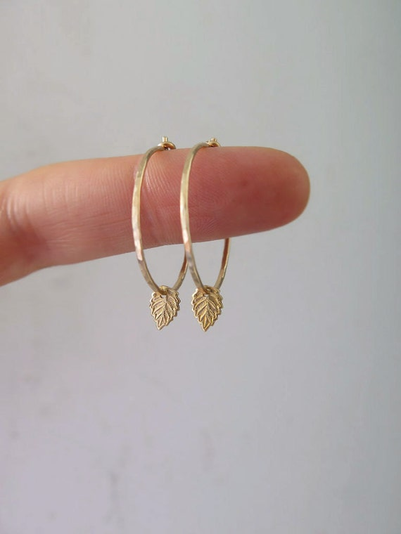 Thin gold hoops, Tiny gold leaf earrings in 14k gold filled or sterling silver, Tiny hoops, Tiny leaf, Gift for mom, mom gift