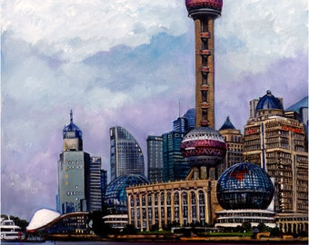 The Bund, Shanghai Oil Painting - 12x15in Giclee Print