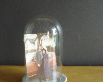 Under Glass -  Glass Dome or Glass Cloche - Photo or Curiosity Display with Floral Base