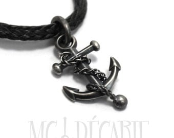 Men Anchor Necklace with satin finish, nautical gift, Sterling Silver, anchor pendant, nautical necklace, gift for her, gift for sailor