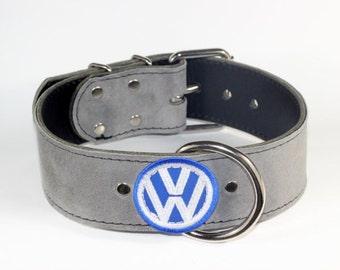 "VW Grey Suede Dog Collar - 2"" Grey Leather Dog Collar - Light Grey Suede Collar - Volkswagon  Dog Collar - Leather Vw Collar (Made In Ca)"