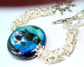 Art Glass Bracelet, Statement Lampwork, Byzantine Chainmaille Bracelet, Art Jewelry Heirloom Jewelry, Featured in Art Bead Book, Moon Shadow