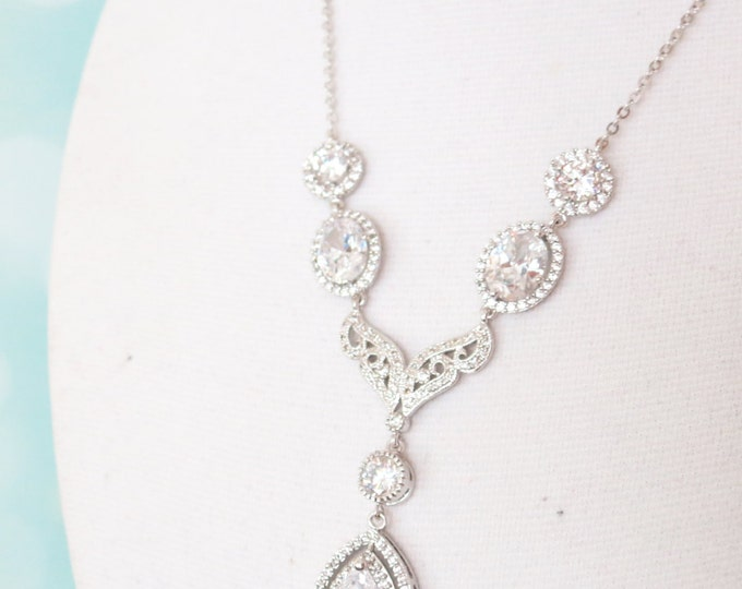 Forever - Cubic Zirconia Vintage Style Deluxe Teardrop Pendant Necklace, gifts for her, Crystal Jewelry, Silver, Simple White Weddings