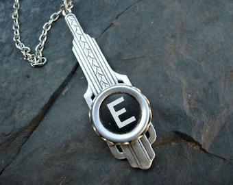 Typewriter Key Jewelry - Letter E - Art Deco