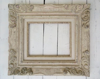 French Country Frame, Vintage Frame, Ivory Fancy Frame, Large Ornate Frame, Shabby Cottage Decor, Paris Apartment, 8x10 Wooden Frame