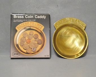 Vintage Brass Pocket Change Coin Tray Original Box NOS / Coin Caddy Solid Brass Plate Catch All Dish Entryway Side Table Key Trinket Holder