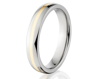 5mm Titanium Wedding Ring band With 14k Yellow Gold Inlay, Sizing 4-17: 5HR11GP-14KINLAY