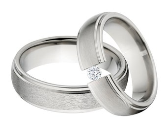 Titanium and Tension Set Matching Ring Set, His & Her's Ring Set: 6HRRC-ST, 6HRRC-B-.25Tension-CZ