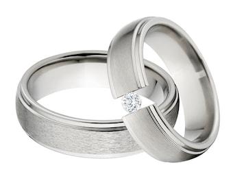 Titanium and Tension Set Matching Ring Set, His & Her's Ring Set: 6HRRC-ST, 6HRRC-B-.25Tension-CZ