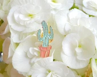 Cactus Enamel Pin - Cactus Lapel Pin Illustration Drawing - Succulent Plant Pastel Enamel Pin