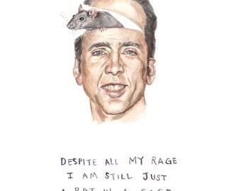 Rat in a Cage - Illustration Print - Smashing Pumpkins Lyrics with Nicholas Cage - Nick Cage Rat - 8x10 5x7 11x14