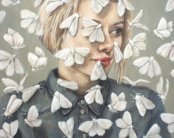 Flutter - Fine Art Painting Reproduction Print - Surreal Painting Moths Flying Around Portrait Bleach Blonde Woman - 5x7 8x10 11x14