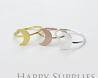 2Pcs Nickel Free - High Quality Rose Gold/Silver/Golden Brass Moon Ring (RB015)