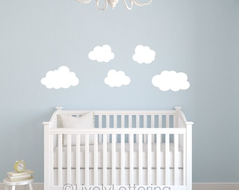Set of 5 Puffy Cloud Decals, Cloud wall decals, Cloud Nursery wall stickers, Cloud stickers, Bedroom Wall Art