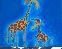 Giraffes on a Cold Day custom original acrylic painting 9x12 free personalization
