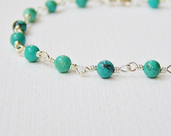 Turquoise Bracelet - Sterling Silver Rosary Chain Beaded Bracelet Beadwork Bracelet Bead Rosary Bracelet