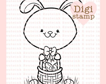 Easter Bunny Basket Digital Stamp - Bunny Stamp - Digital Easter Stamp - Bunny Art - Easter Card Supply - Easter Craft Supply