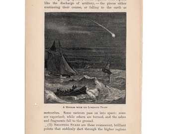 1899 METEOR PRINT with its luminous trainoriginal antique celestial astronomy lithograph