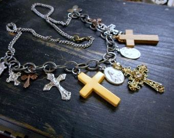 DEMONS Protection Talisman. Vintage Relics, Crosses Religious Trinkets Bohemian Talisman Assemblage Chunly Statement necklace