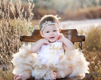 Gold Party Dress for Baby Girls, Little Girls Gold Birthday Tutus, Gold Flower Girl Dress, Gold Princess Dress