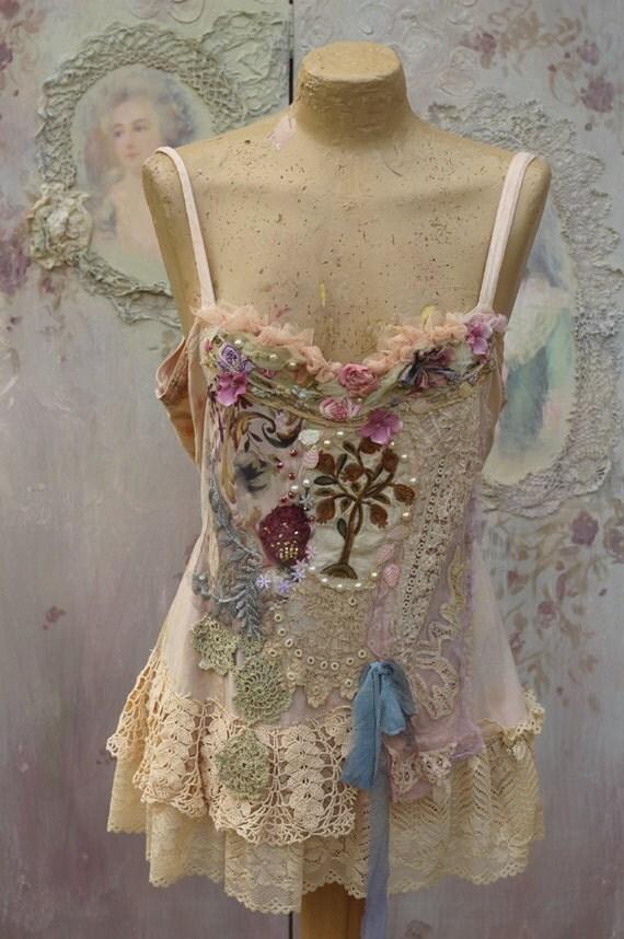 vintage boudoir top bohemian altered couture