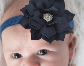 Navy Elastic Headband, Navy headband, baby headband, toddler headband, girl headband, newborn headband, girl birthday gift, navy flower