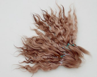 Brown shades Doll Hair extra long 11 in Combed Mohair goat/  reroot Blythe, pukifee, reborn, waldorf, pullip, neemo, bjd, doll wig