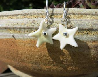 Little porcelain star earrings