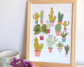 Cactus wall art print, cactus Print, succulent print, cactus Illustration, cactus plants poster wall decor - size A4