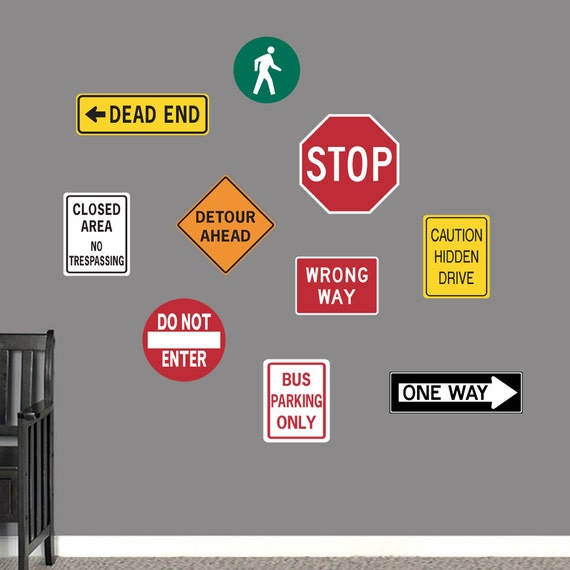 Traffic Signs Wall Decor : Road signs printed kid s room and man cave wall decals