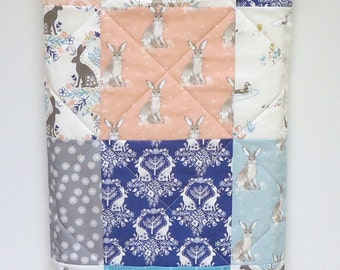 Bunny Rabbit Baby Quilt-Rustic Woodland Quilt-Patchwork Bunny Rabbit-Blue Gray Pink Baby Blanket-Baby Bedding-Rabbit Nursery