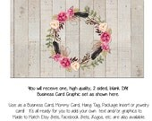 Business Card Template - The Aimee Wreath  - Made to Match Etsy Sets and Facebook Timeline Covers, Invitations, Business Cards, DIY