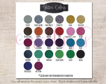 Siser Glitter Color Chart  - HTV Heat Transver Vinyl Chart - Use in Your Store for Listings - Instant Download Color Chart